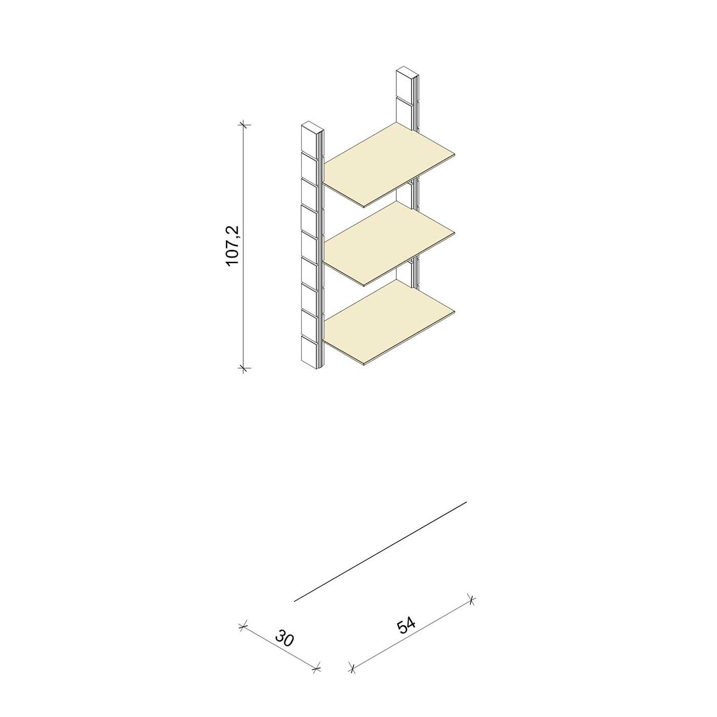 Bücherregal - Comfort (M) 54 - Maß: 54 x 107,2 x 30 cm (B x H x T)