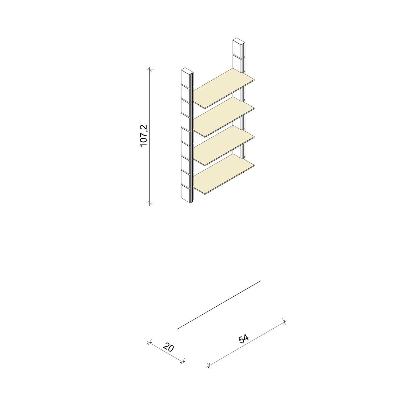 Bücherregal - Basic (M) 54 - Maß: 54 x 107,2 x 20 cm (B x H x T)