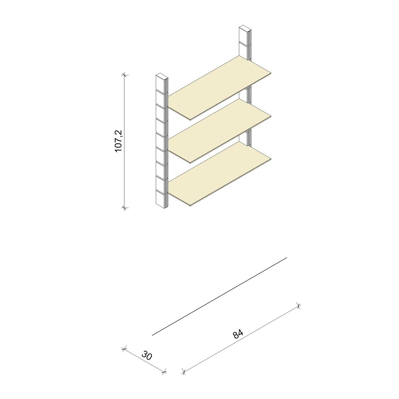 Bücherregal - Prime (M) 84 - Maß: 84 x 107,2 x 30 cm (B x H x T)