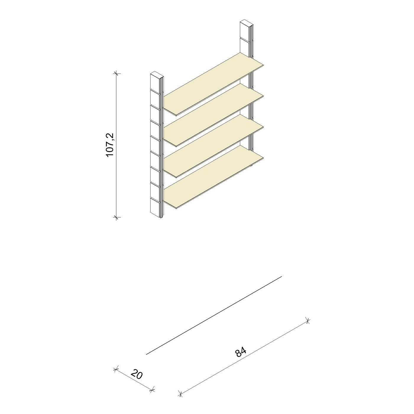 Bücherregal - Classic (M) 84 - Maß: 84 x 107,2 x 20 cm (B x H x T)