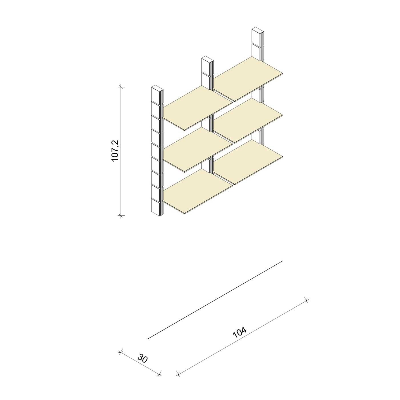 Bücherregal - Comfort (M) 104 - Maß: 104 x 107,2 x 30 cm (B x H x T)