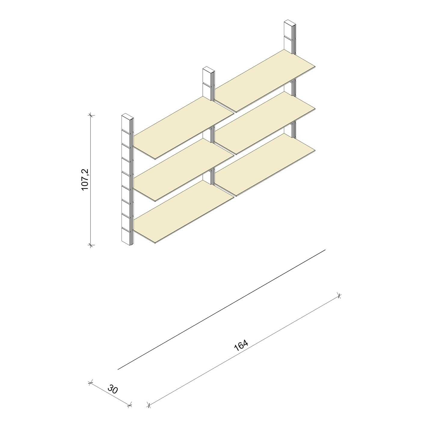 Bücherregal - Prime (M) 164 - Maß: 164 x 107,2 x 30 cm (B x H x T)