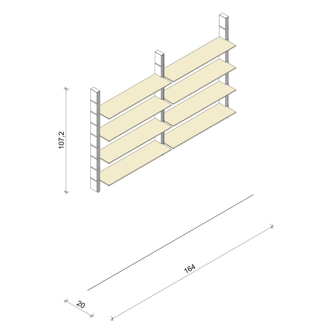 Bücherregal - Classic (M) 164 - Maß: 164 x 107,2 x 20 cm (B x H x T)