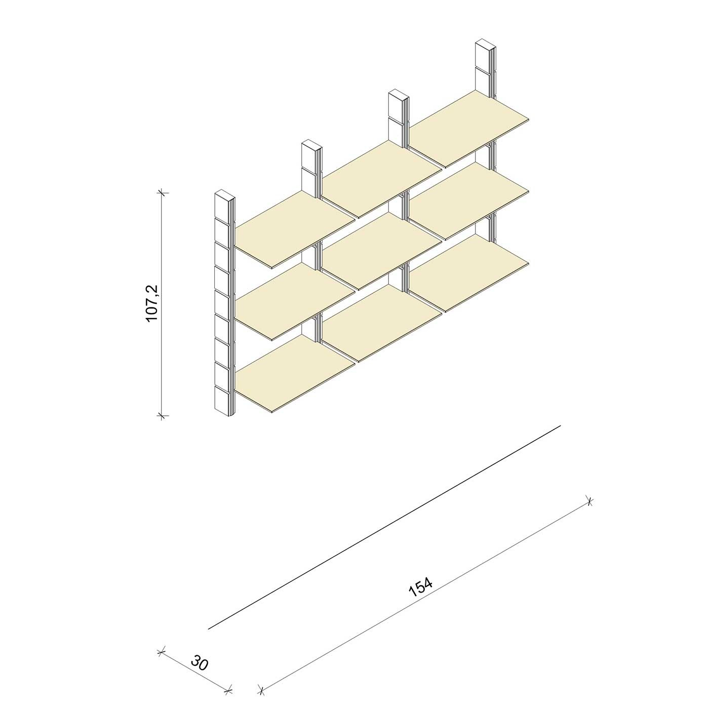 Bücherregal - Comfort (M) 154 - Maß: 154 x 107,2 x 30 cm (B x H x T)