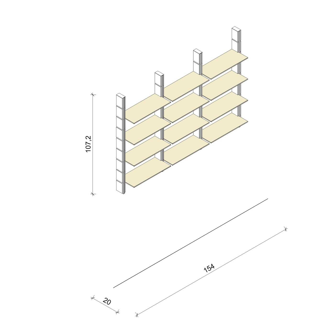 Bücherregal - Basic (M) 154 - Maß: 154 x 107,2 x 20 cm (B x H x T)