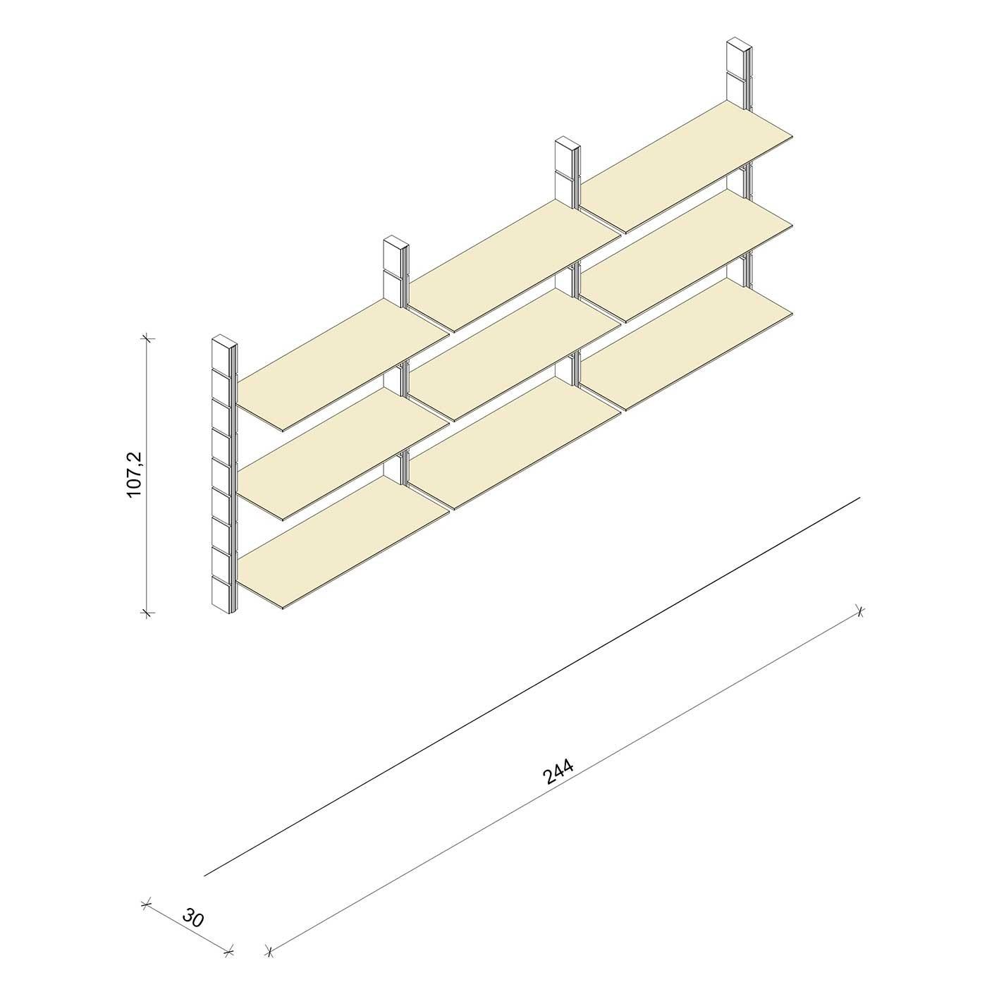 Bücherregal - Prime (M) 244 - Maß: 244 x 107,2 x 30 cm (B x H x T)