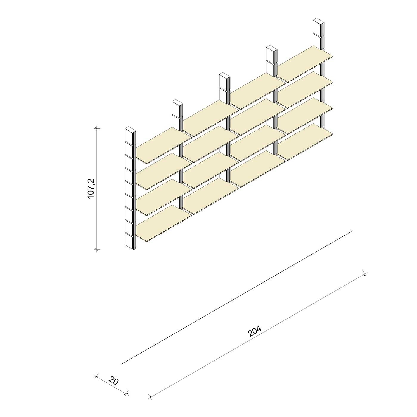 Bücherregal - Basic (M) 204 - Maß: 204 x 107,2 x 20 cm (B x H x T)