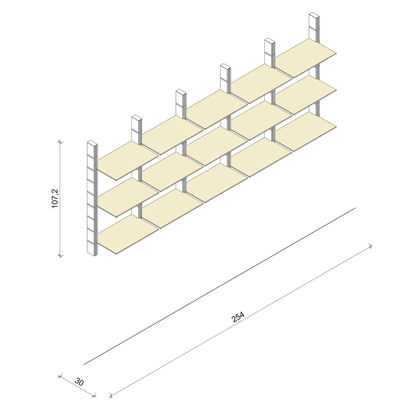 Bücherregal - Comfort (M) 254 - Maß: 254 x 107,2 x 30 cm (B x H x T)
