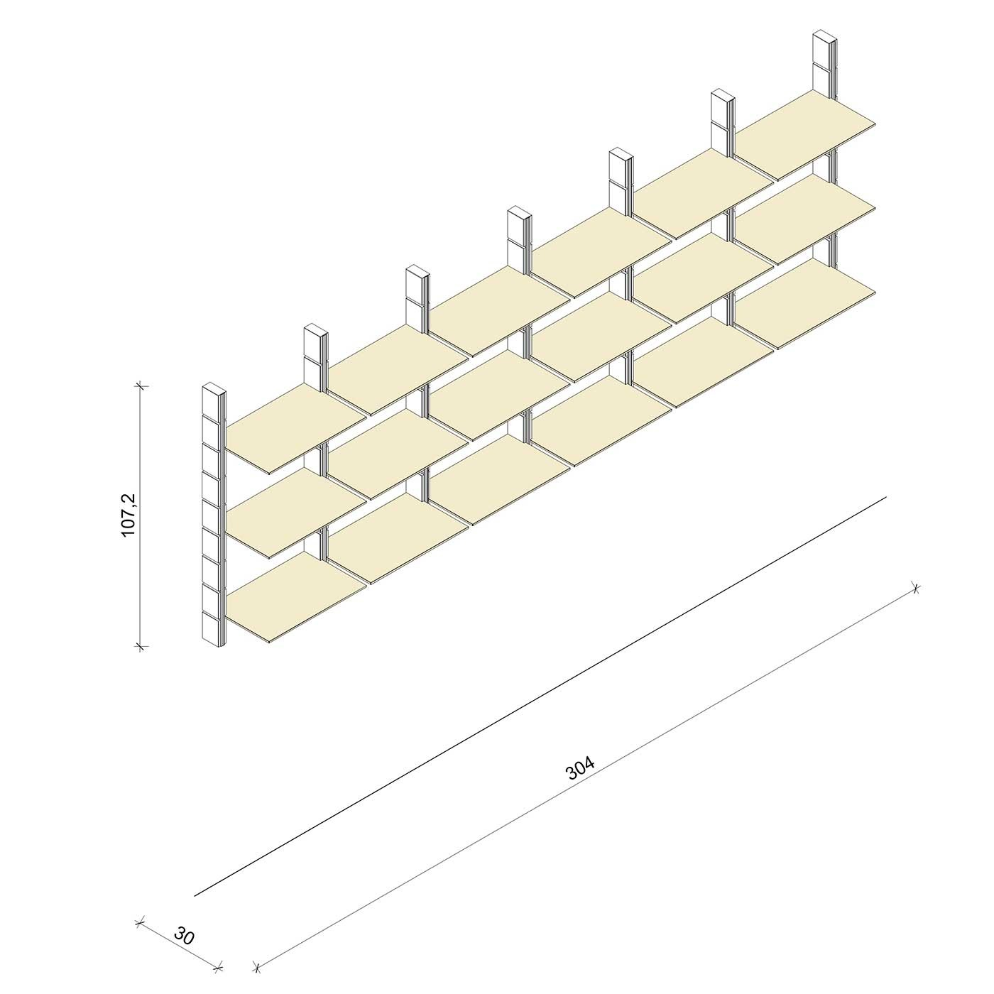 Bücherregal - Comfort (M) 304 - Maß: 304 x 107,2 x 30 cm (B x H x T)