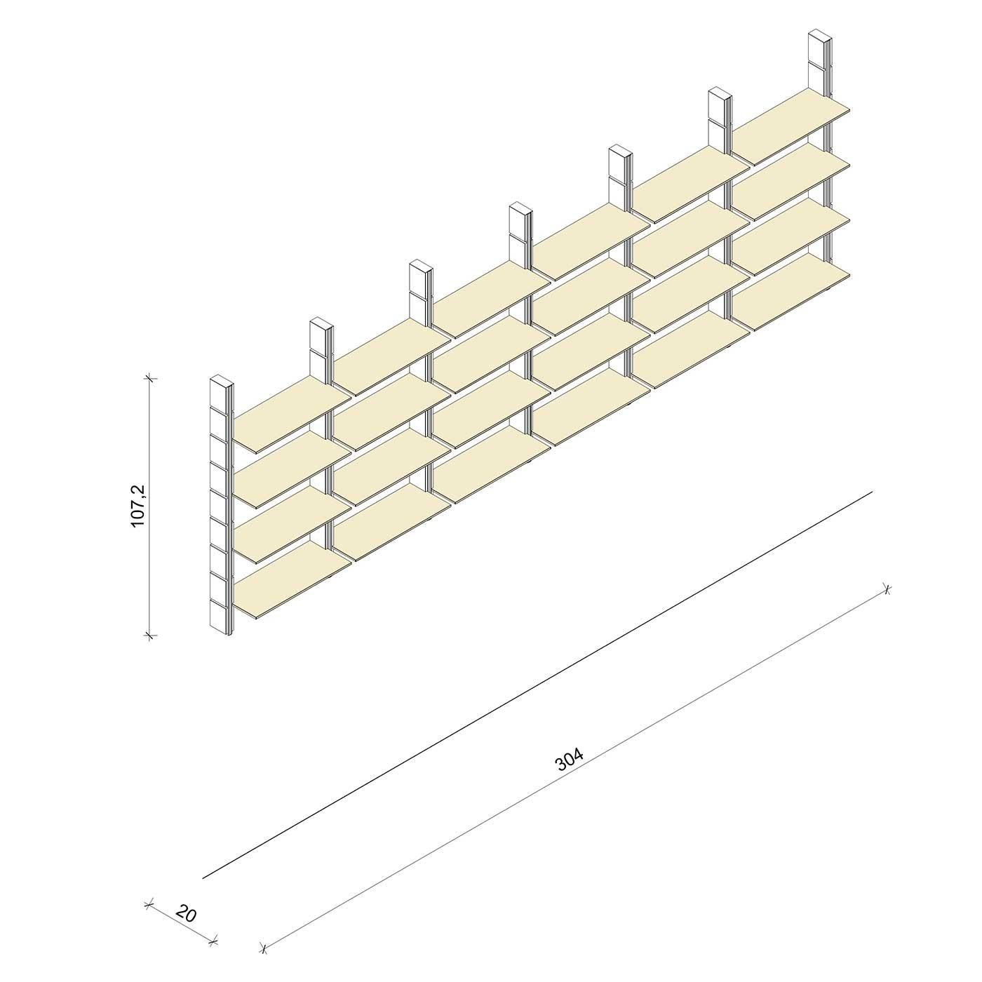 Bücherregal - Basic (M) 304 - Maß: 304 x 107,2 x 20 cm (B x H x T)