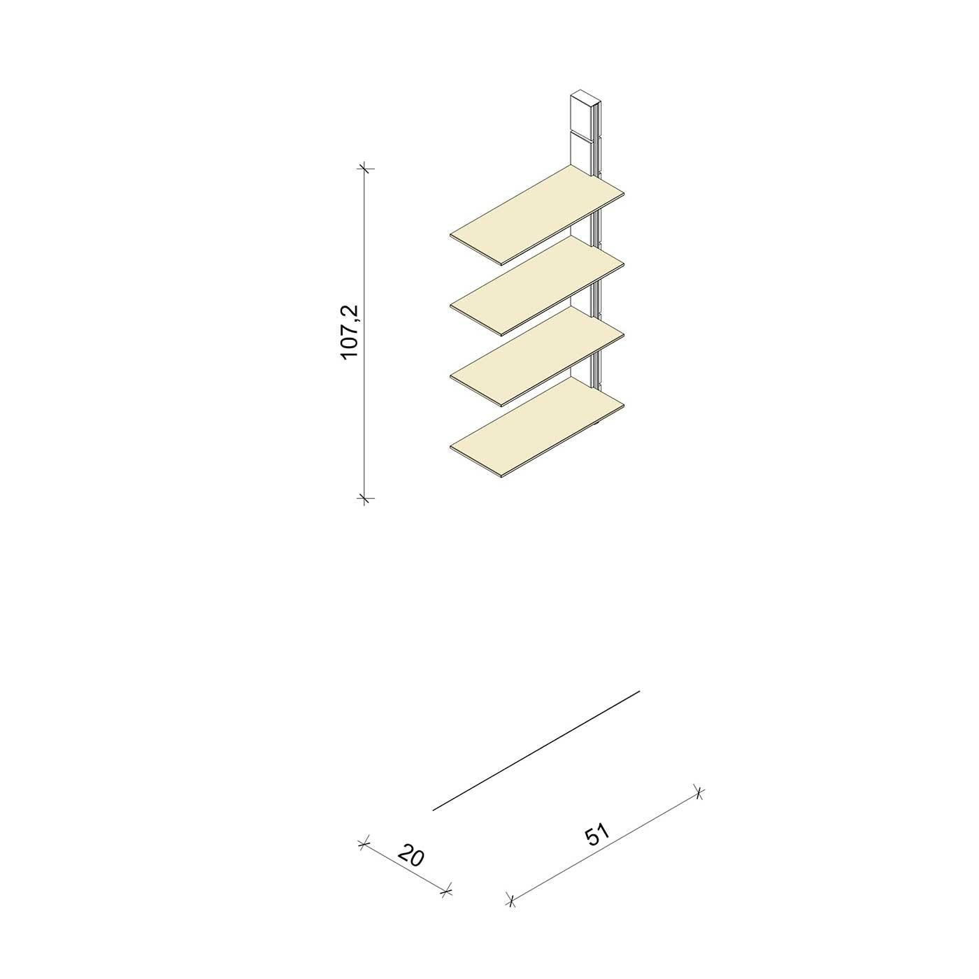 Bücherregal - Basic (M) - Anbauelement - Maß: 51 x 107,2 x 20 cm (B x H x T)