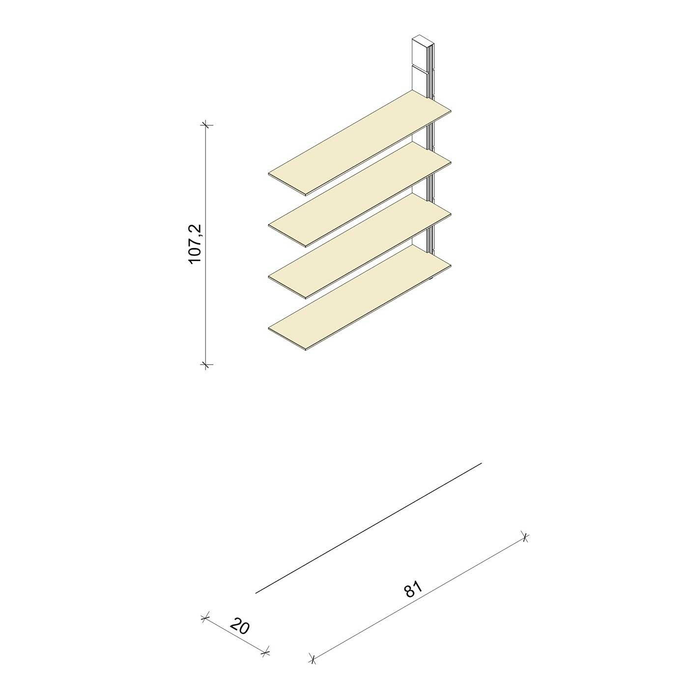 Bücherregal - Classic (M) 81 - Anbauelement - Maß: 81 x 107,2 x 20 cm (B x H x T)
