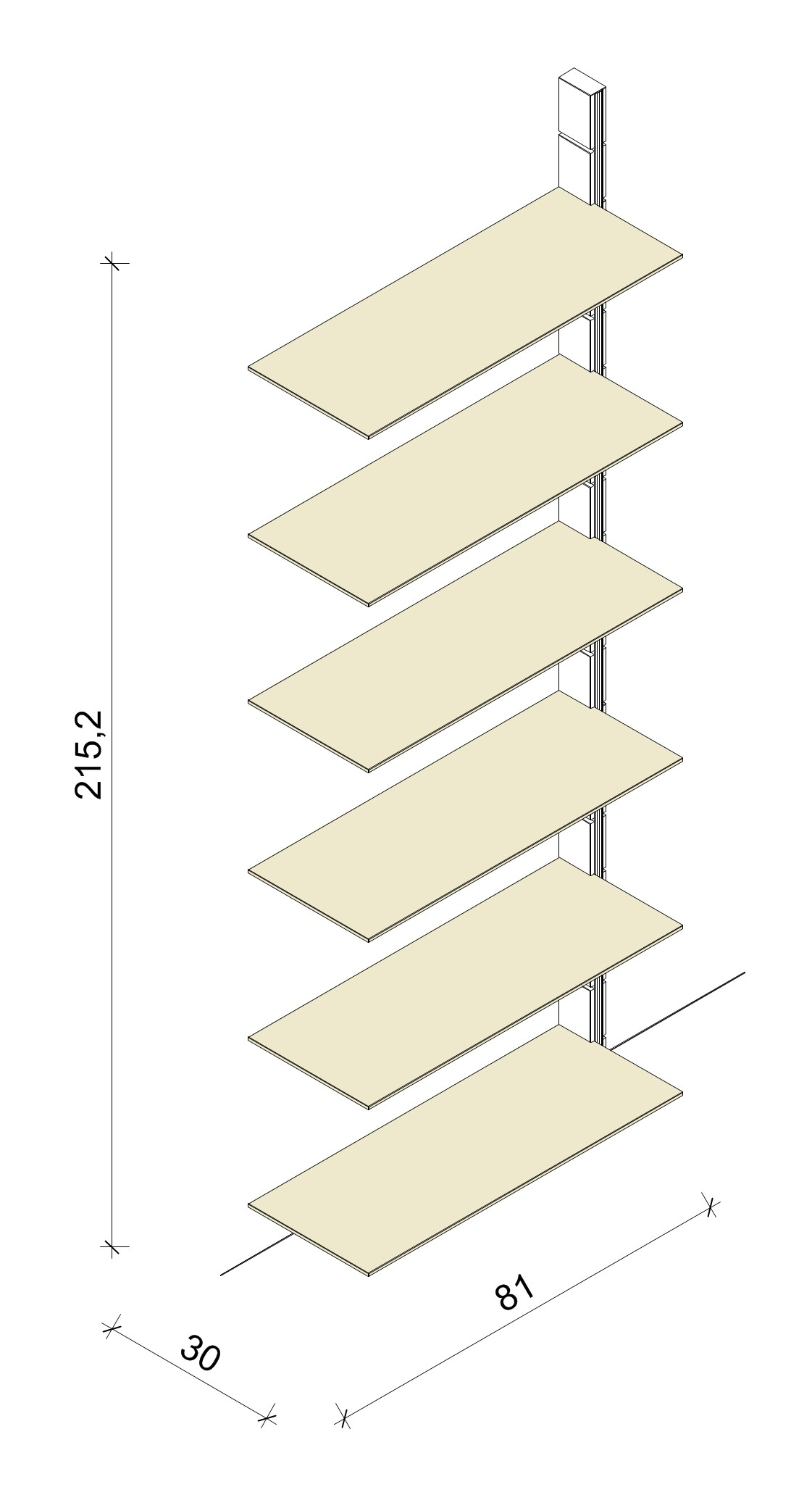 Bücherregal - Prime (XL) 81 - Anbauelement -Maß: 81 x 215,2 x 30 cm (B x H x T)