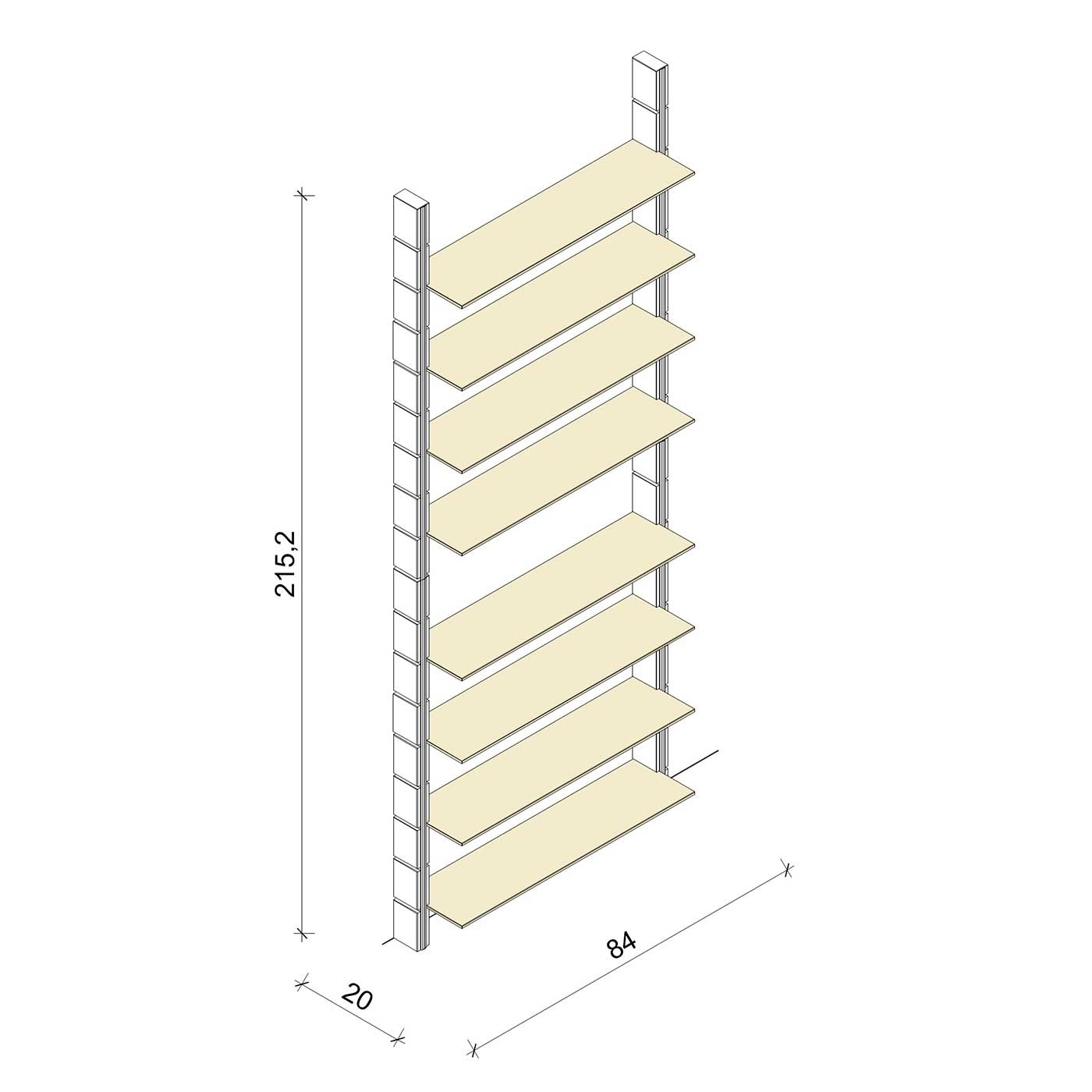 Bücherregal - Classic (XL) 84 - Maß: 84 x 215,2 x 20 cm (B x H x T)