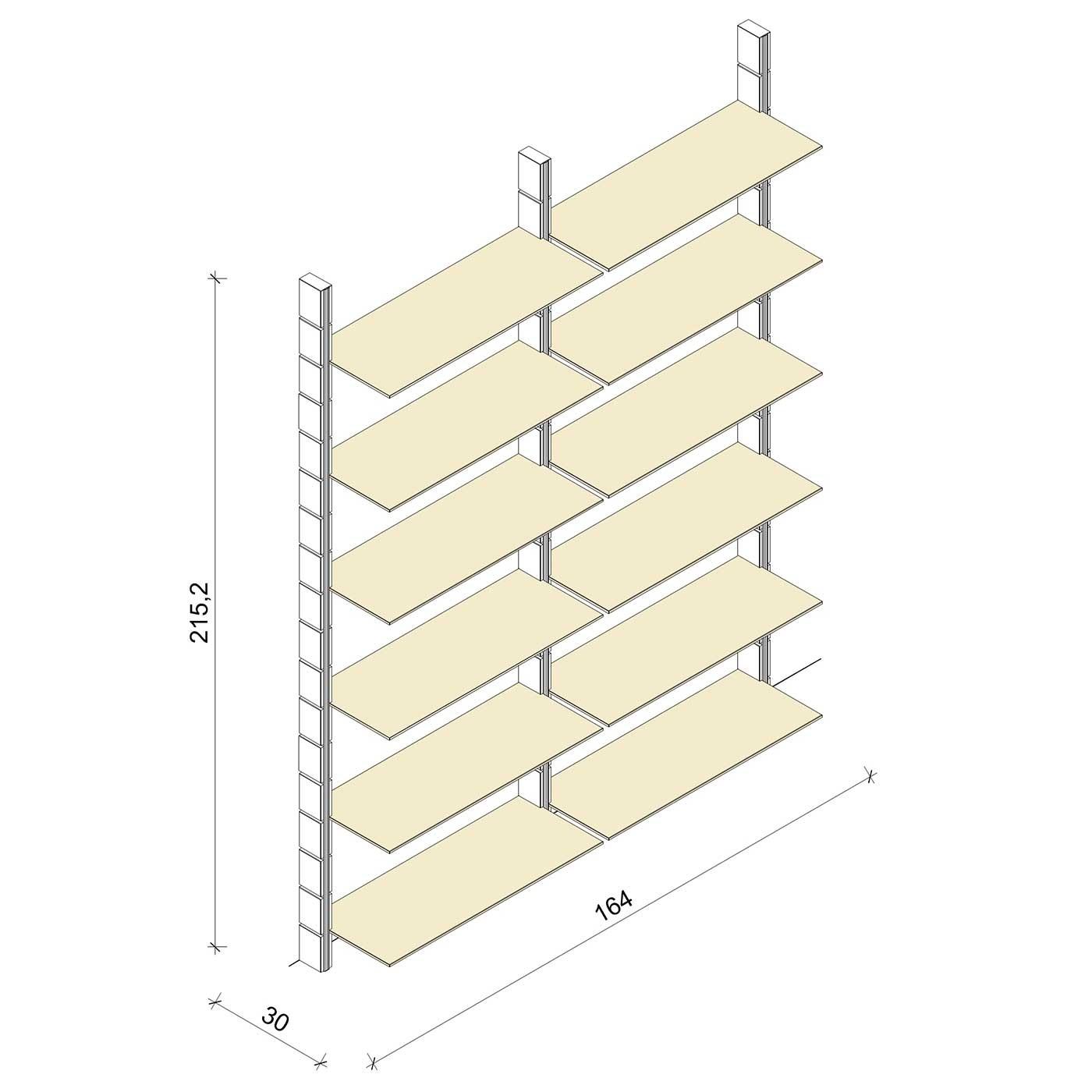 Bücherregal - Prime (XL) 164 - Maß: 164 x 215,2 x 30 cm (B x H x T)