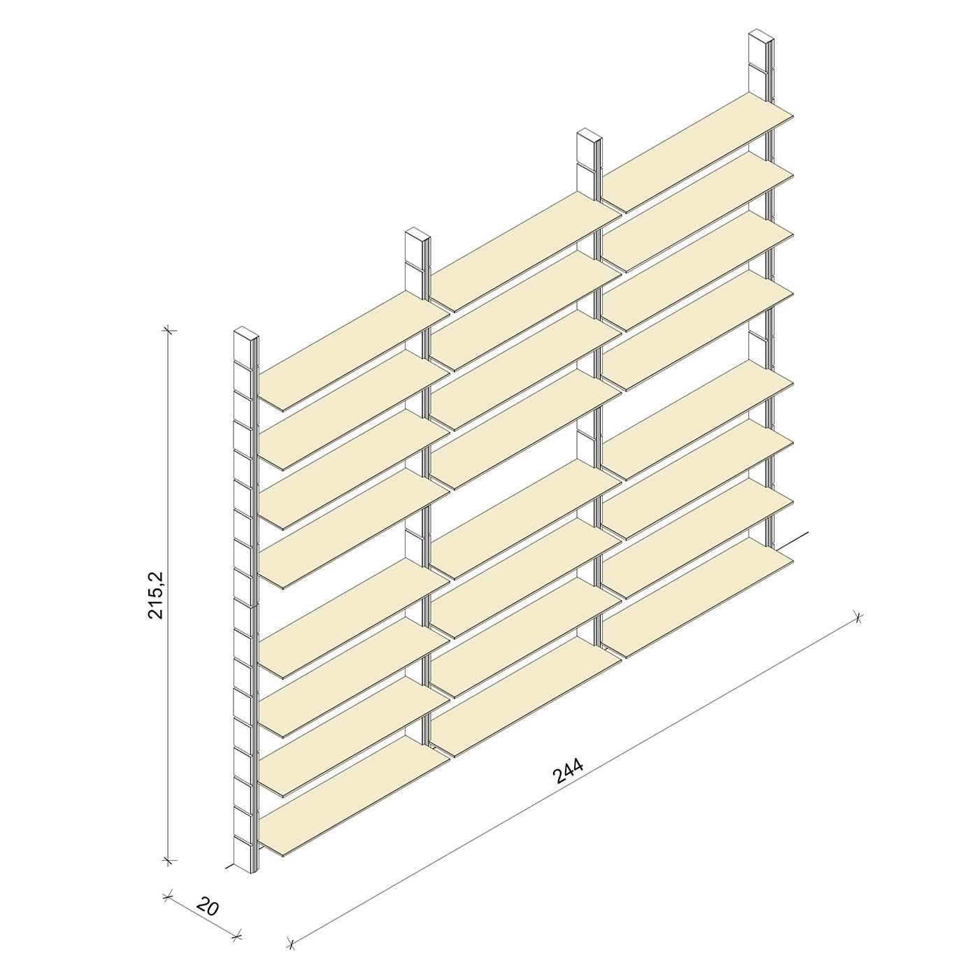 Bücherregal - Classic (XL) 244 - Maß: 244 x 215,2 x 20 cm (B x H x T)
