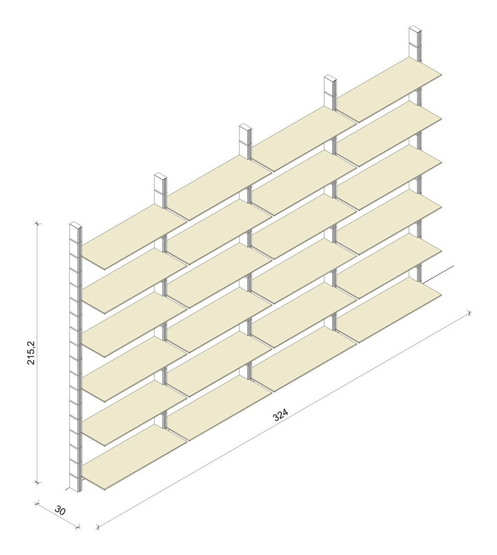 Bücherregal - Prime (XL) 324 - Maß: 324 x 215,2 x 30 cm (B x H x T)