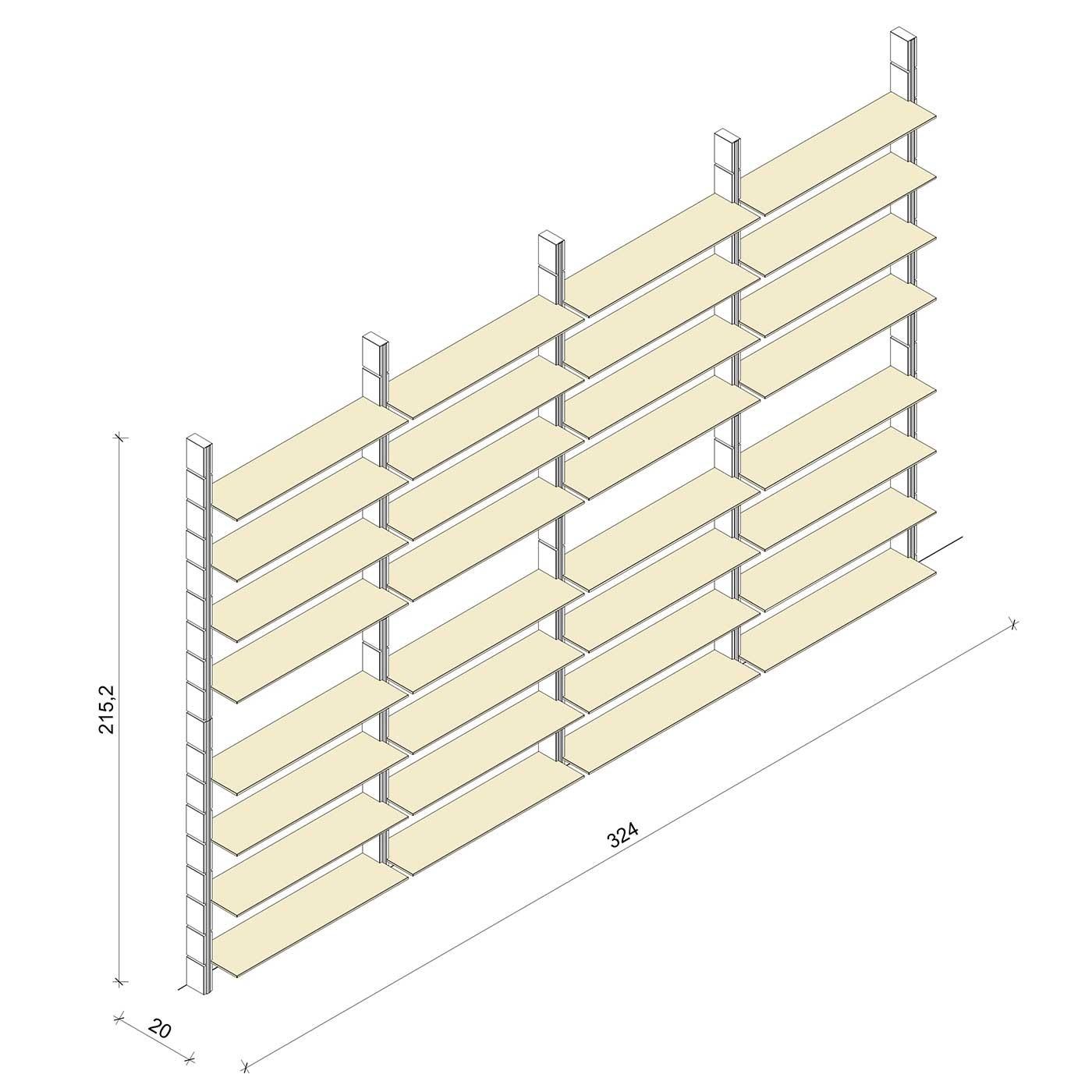 Bücherregal - Classic (XL) 324 - Maß: 324 x 215,2 x 20 cm (B x H x T)