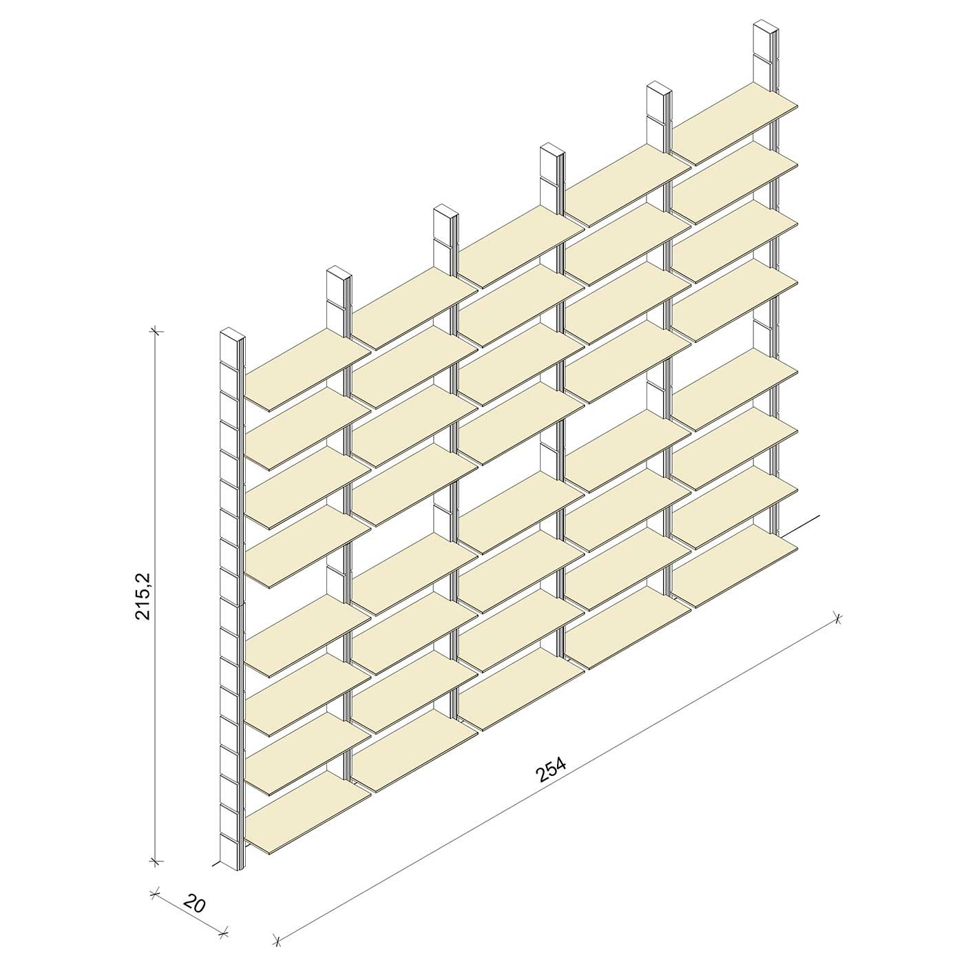 Bücherregal - Basic (XL) 254 - Maß: 254 x 215,2 x 20 cm (B x H x T)