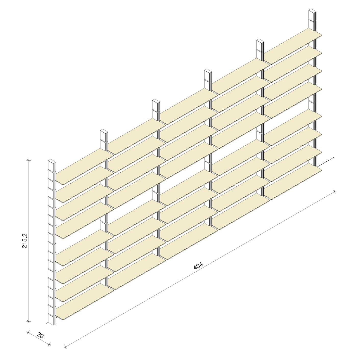 Bücherregal - Classic (XL) 404 - Maß: 404 x 215,2 x 20 cm (B x H x T)