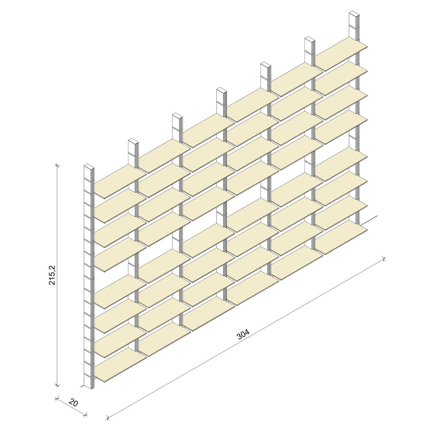 Bücherregal - Basic (XL) 304 - Maß: 304 x 215,2 x 20 cm (B x H x T)
