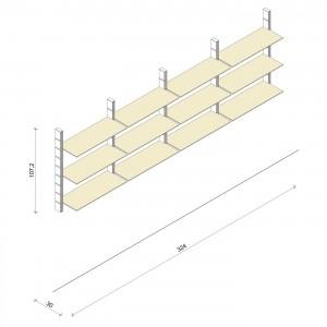 Bücherregal - Prime (M) 324 - Maß: 324 x 107,2 x 30 cm (B x H x T)