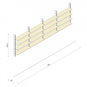 Bücherregal - Classic (M) 324 - Maß: 324 x 107,2 x 20 cm (B x H x T)