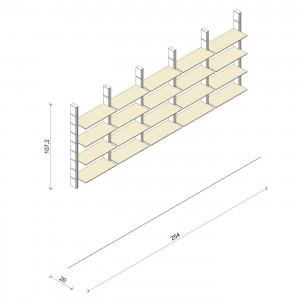 Bücherregal - Basic (M) 254 - Maß: 254 x 107,2 x 20 cm (B x H x T)