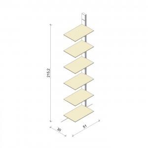 Bücherregal - Comfort (XL) 51 - Anbauelement - Maß: 51 x 215,2 x 30 cm (B x H x T)