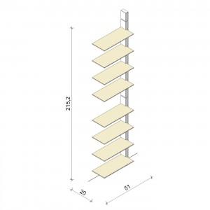 Bücherregal - Basic (XL) 51 - Anbauelement - Maß: 51 x 215,2 x 20 cm (B x H x T)