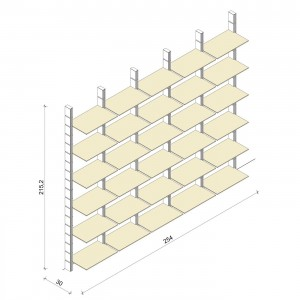 Bücherregal - Comfort (XL) 254 - Maß: 254 x 215,2 x 30 cm (B x H x T)