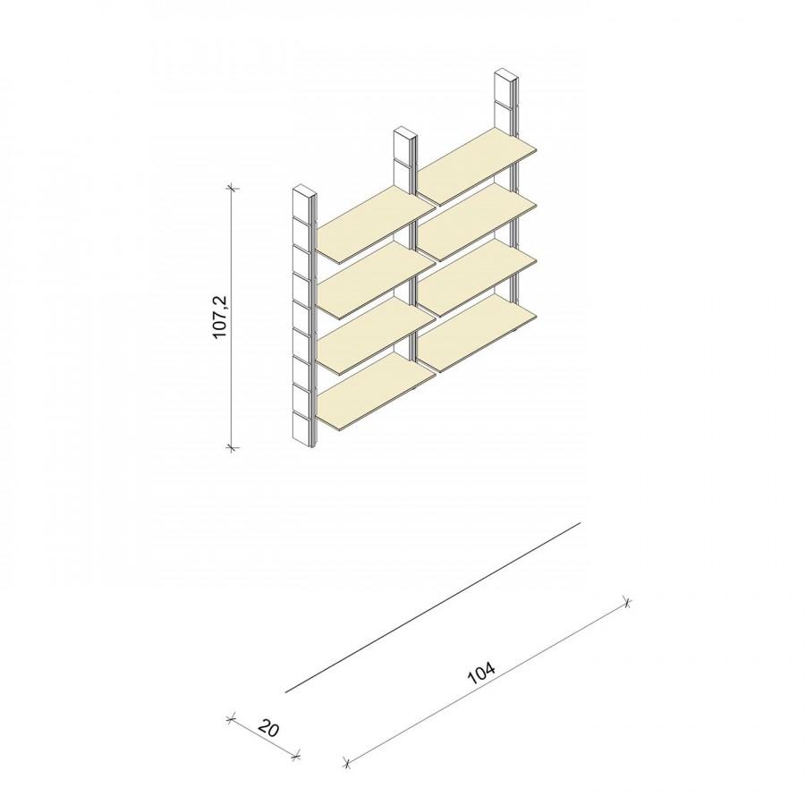 Bücherregal - Basic (M) 104 - Maß: 104 x 107,2 x 20 cm (B x H x T)