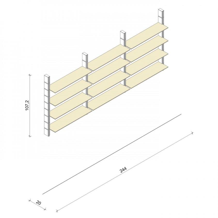 Bücherregal - Classic (M) 244 - Maß: 244 x 107,2 x 20 cm (B x H x T)