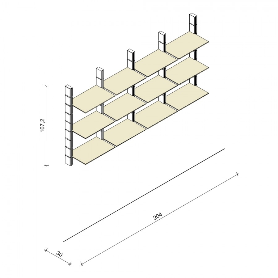 Bücherregal - Comfort (M) 204 - Maß: 204 x 107,2 x 30 cm (B x H x T)