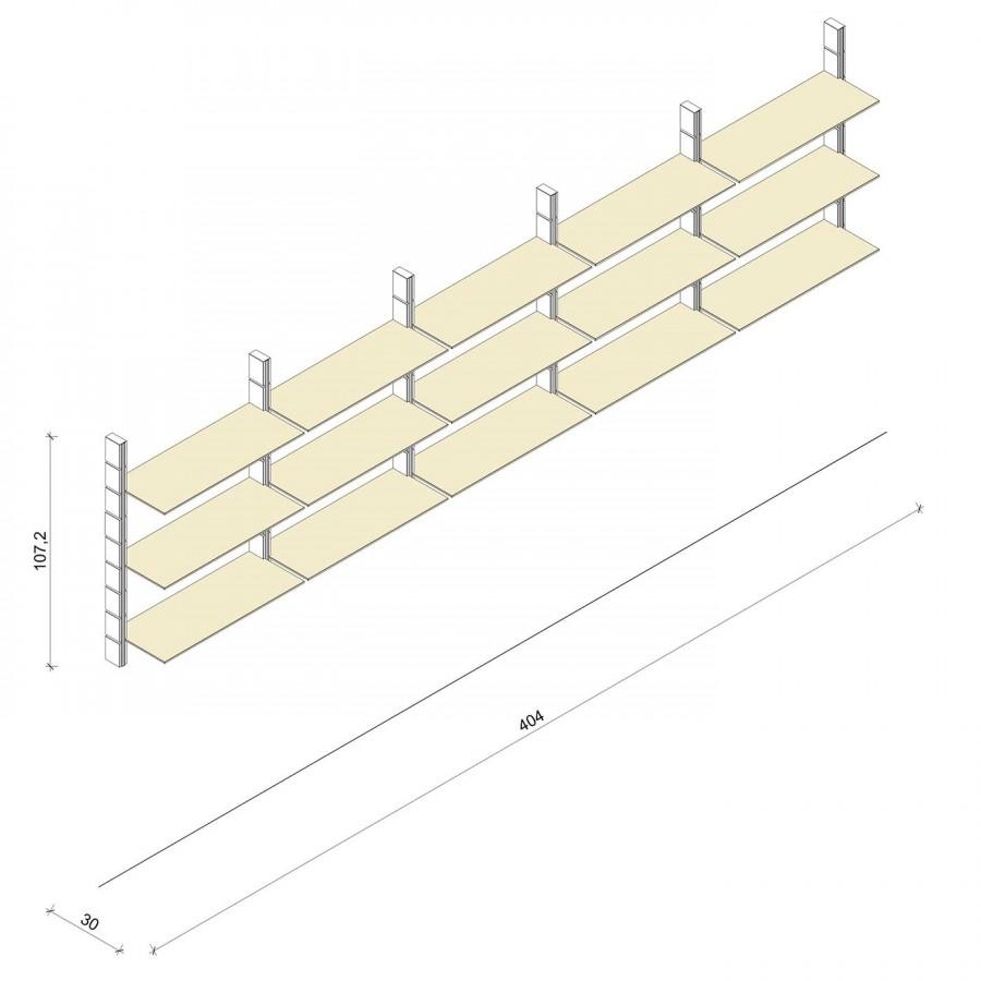 Bücherregal - Prime (M) 404 - Maß: 404 x 107,2 x 30 cm (B x H x T)