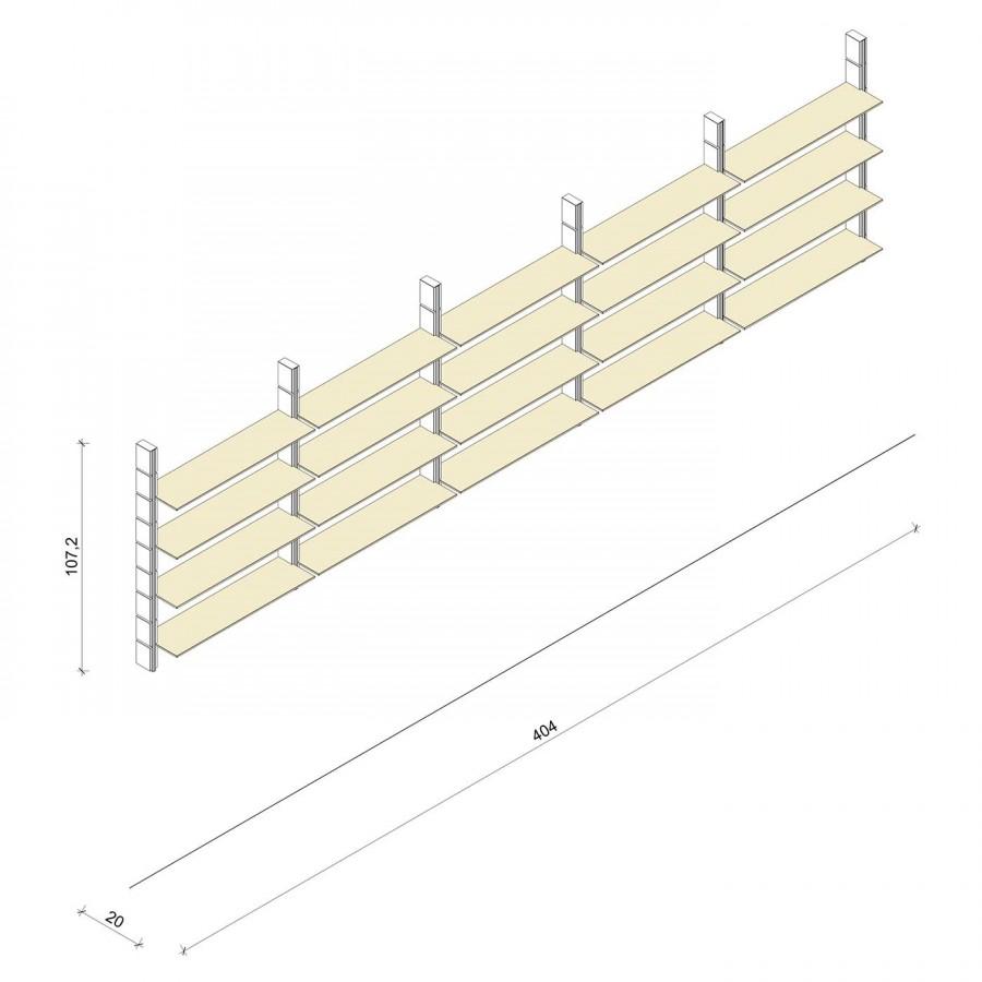 Bücherregal - Classic (M) 404 - Maß: 404 x 107,2 x 20 cm (B x H x T)