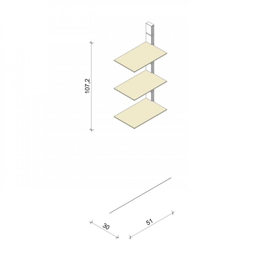 Bücherregal - Comfort (M) 51 - Anbauelement - Maß: 51 x 107,2 x 30 cm (B x H x T)