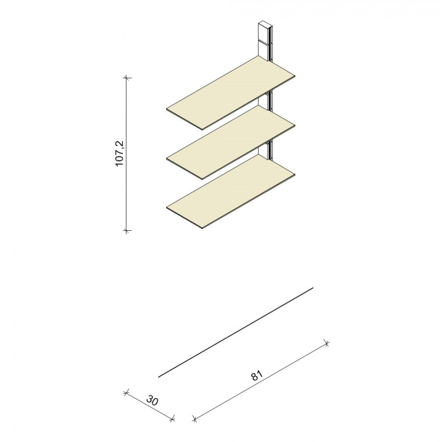 Bücherregal - Prime (M) 81 - Anbauelement - Maß: 81 x 107,2 x 30 cm (B x H x T)