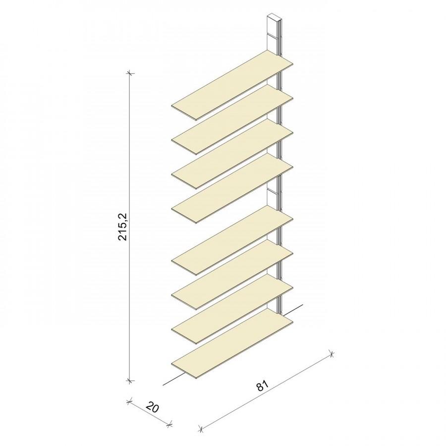 Bücherregal - Classic (XL) 81 - Anbauelement - Maß: 81 x 215,2 x 20 cm (B x H x T)