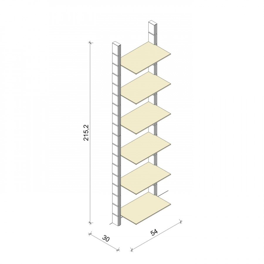 Bücherregal - Comfort (XL) 54 - Maß: 54 x 215,2 x 30 cm (B x H x T)