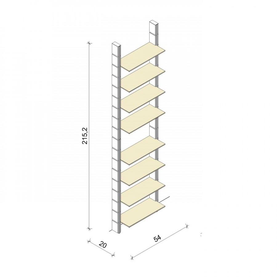 Bücherregal - Basic (XL) 54 - Maß: 54 x 215,2 x 20 cm (B x H x T)