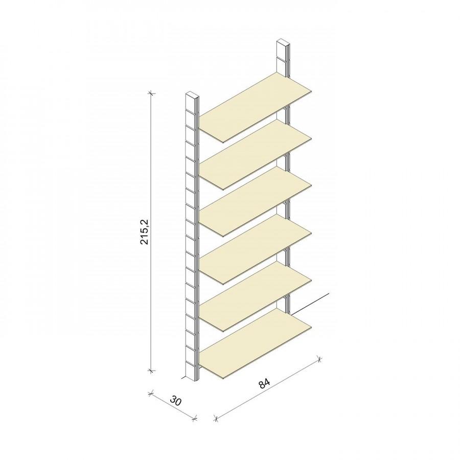 Bücherregal - Prime (XL) 84 - Maß: 84 x 215,2 x 30 cm (B x H x T)