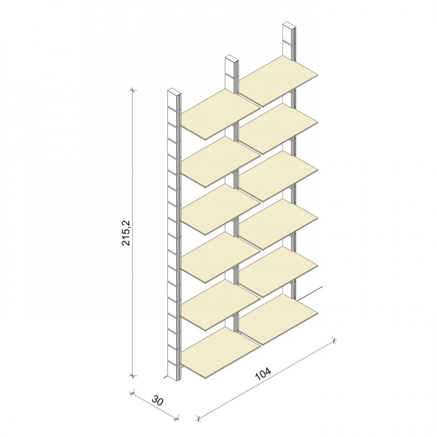 Bücherregal - Comfort (XL) 104 - Maß: 104 x 215,2 x 30 cm (B x H x T)