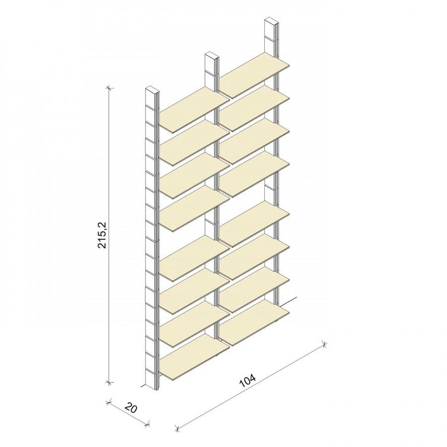 Bücherregal - Basic (XL) 104 - Maß: 104 x 215,2 x 20 cm (B x H x T)
