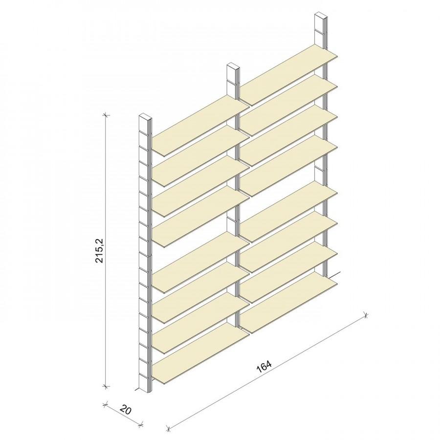 Bücherregal - Classic (XL) 164 - Maß: 164 x 215,2 x 20 cm (B x H x T)