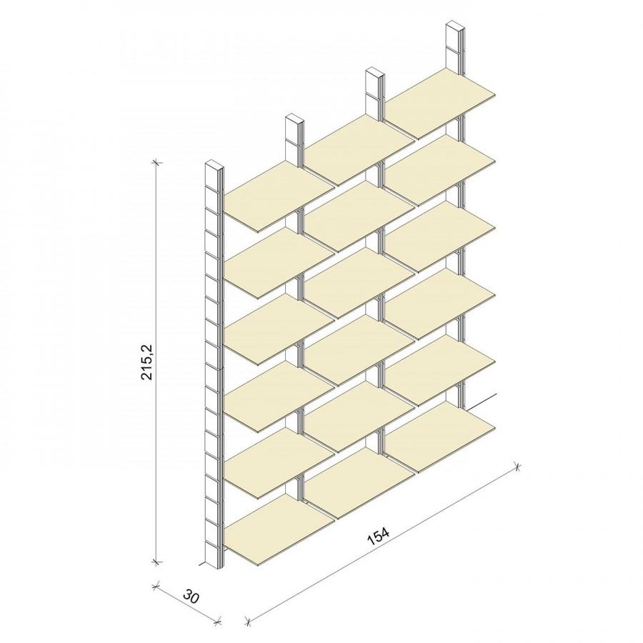 Bücherregal - Comfort (XL) 154 - Maß: 154 x 215,2 x 30 cm (B x H x T)