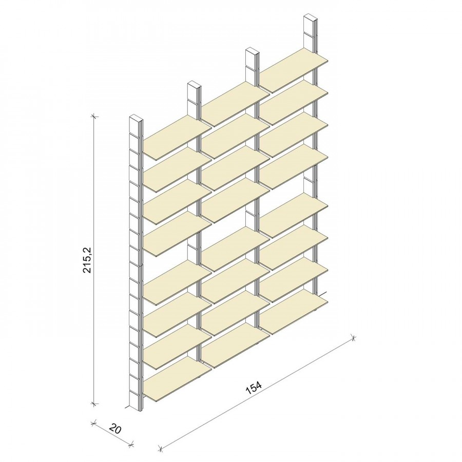Bücherregal - Basic (XL) 154 - Maß: 154 x 215,2 x 20 cm (B x H x T)
