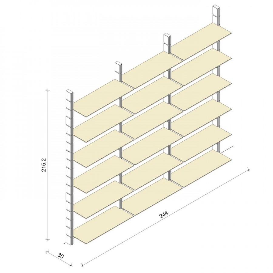 Bücherregal - Prime (XL) 244 - Maß: 244 x 215,2 x 30 cm (B x H x T)