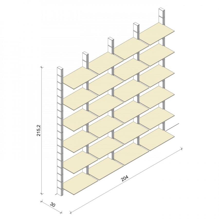Bücherregal - Comfort (XL) 204 - Maß: 204 x 215,2 x 30 cm (B x H x T)