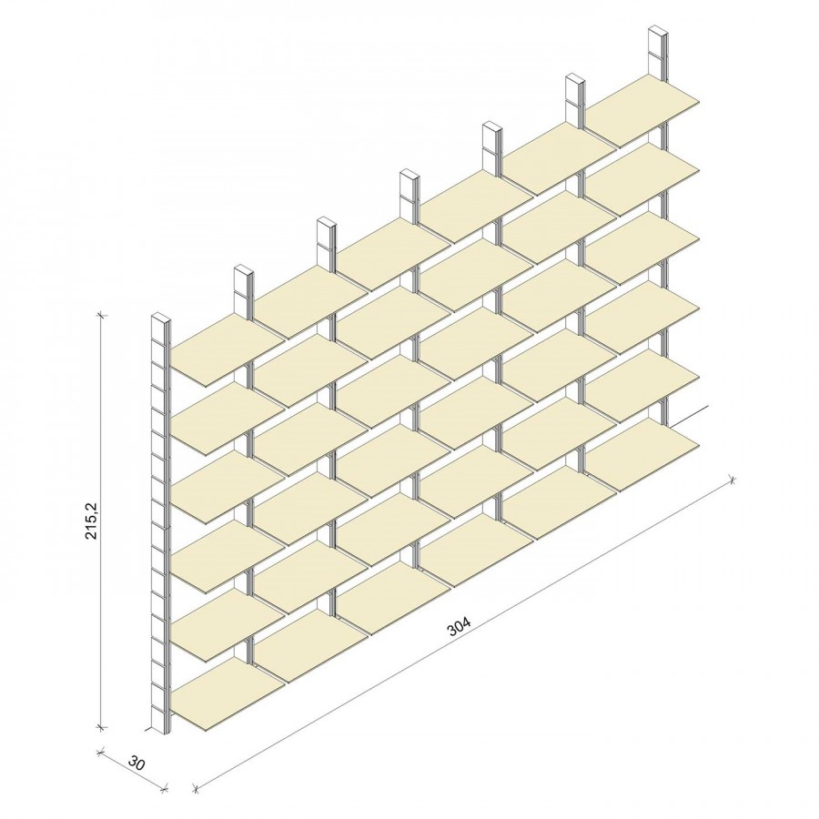 Bücherregal - Comfort (XL) 304 - Maß: 304 x 215,2 x 30 cm (B x H x T)